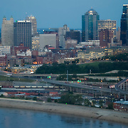 Aerial view of downtown Kansas City, MO skyline.