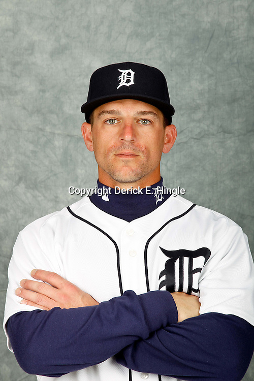 February 28, 2012; Lakeland, FL, USA; Detroit Tigers players Scott Pickens poses for photo day in the rec room at the Detroit Tigers Headquarters.  Mandatory Credit: Derick E. Hingle-US PRESSWIRE