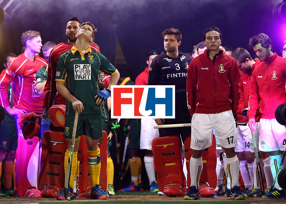 JOHANNESBURG, SOUTH AFRICA - JULY 17:  Tim Drummond of South Africa and Thomas Briels of Belgium line up in the tunnel with their teams during day 5 of the FIH Hockey World League Men's Semi Finals Pool B match between South Africa and Belgium at Wits University on July 17, 2017 in Johannesburg, South Africa.  (Photo by Jan Kruger/Getty Images for FIH)