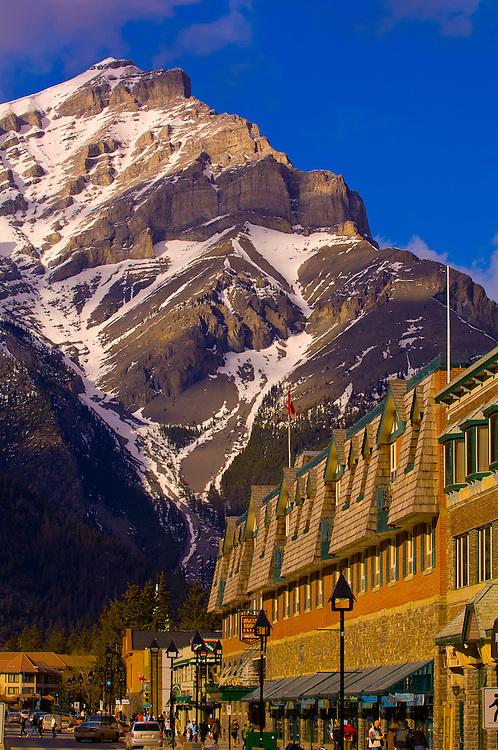 Banff Avenue with Cascade Mountain in background, Banff, Banff National Park, Alberta, Canada