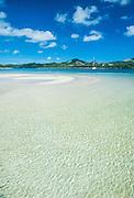 Turquoise water at the Nanuya Lailai island, the blue lagoon, Yasawas, Fiji, South Pacific