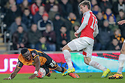 Adama Diomandé (Hull City) brought down just outside the box in the final seconds of the first half of the FA Cup fifth round match between Hull City and Arsenal at the KC Stadium, Kingston upon Hull, England on 8 March 2016. Photo by Mark P Doherty.