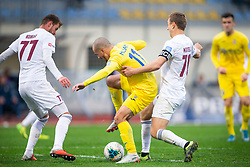 Tonci Mujan of Domzale, Ozbej Kuhar and Ales Mertelj of Triglav during football match between NK Domzale and NK Triglav in Round #18 of Prva liga Telekom Slovenije 2019/20, on November 23, 2019 in Sports park Domzale, Slovenia. Photo by Sinisa Kanizaj / Sportida