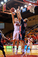 VMI Keydets douse Liberty Flames, 71-57: Keydet forward Jordan Weethee takes a shot as Liberty's Tomasz Gielo.  The VMI freshman scored 12 points.