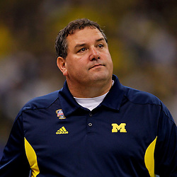January 3, 2012; New Orleans, LA, USA; Michigan Wolverines head coach Brady Hoke against the Virginia Tech Hokies during the Sugar Bowl at the Mercedes-Benz Superdome. Michigan defeated Virginia 23-20 in overtime. Mandatory Credit: Derick E. Hingle-US PRESSWIRE