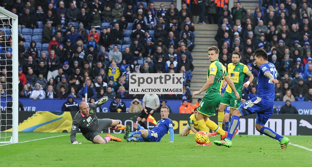 Leonardo Ulloa pounces to score the only goal of the game (c) Simon Kimber | SportPix.org.uk