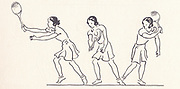 backhand illustrations (from right to left) from Lawn Tennis. May I Introduce you? How to play tennis book by Evelyn Dewhurst with sketches by Aubrey Weber. Published in London by Sir Isaac Pitman & Sons in 1940