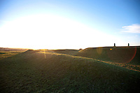 Sun flare over Hill of Tara, Ireland