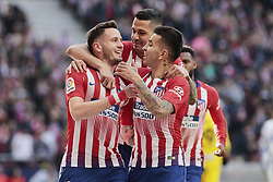 March 9, 2019 - Madrid, Madrid, Spain - Atletico de Madrid's Saul Niguez (L) and Angel Martin Correa (R) celebrate goal during La Liga match between Atletico de Madrid and CD Leganes at Wanda Metropolitano stadium in Madrid. (Credit Image: © Legan P. Mace/SOPA Images via ZUMA Wire)