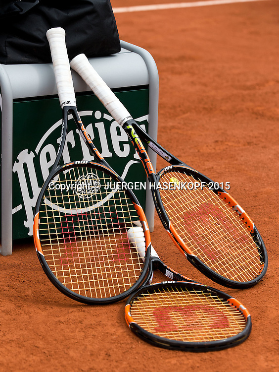 French Open 2015, Feature, Drei Schlaeger,<br /> <br /> Tennis - French Open 2015 - Grand Slam ITF / ATP / WTA -  Roland Garros - Paris -  - France  - 26 May 2015.