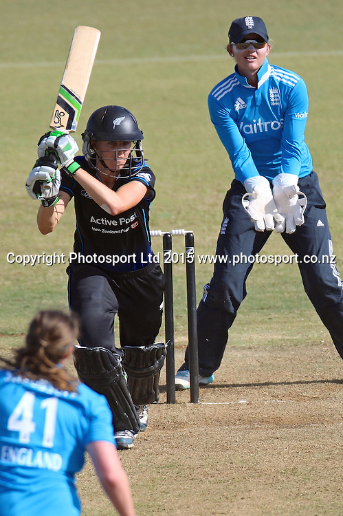 Amy Satterwaite. New Zealand White Ferns v England - 3rd ODI at Bay Oval, Mount Maunganui, New Zealand. 15 February 2015. Photo credit: Margot Butcher/www.photosport.co.nz
