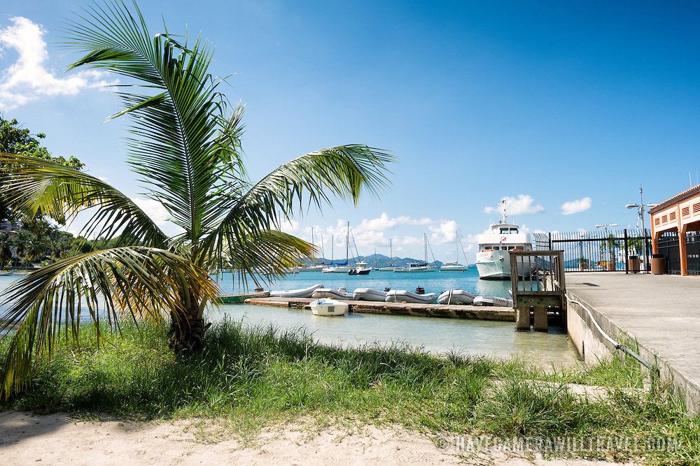 The ferry terminal on the beach at Cruz Bay on St John in the US Virgin Islands.