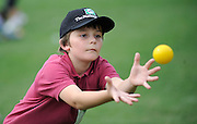 Cricket Fan trys to catch the ball at the National Bank's Cricket Super Camp , University oval, Dunedin, New Zealand. Thursday 2 February 2012 . Photo: Richard Hood photosport.co.nz