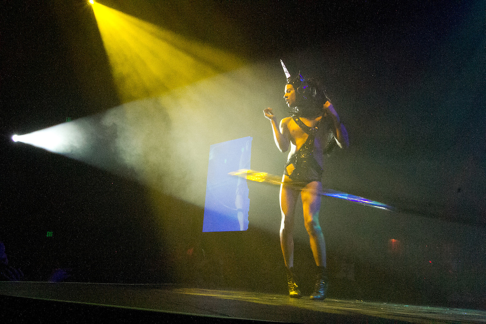 Performer Karis performs during Lucha VaVoom Halloween Ring of Terror at the Mayan Theater on Wednesday, October 26, 2011 in downtown Los Angeles, California.  Michael Yanow/Corsair
