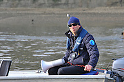 London, UK,  2014 Varsity, Annual Tideway Week. OUBC, Oxford University Boat Club, Sean BOWDEN, Chief Coach. 04:39:32  Wednesday  02/04/2014  : [Mandatory Credit Intersport Images]