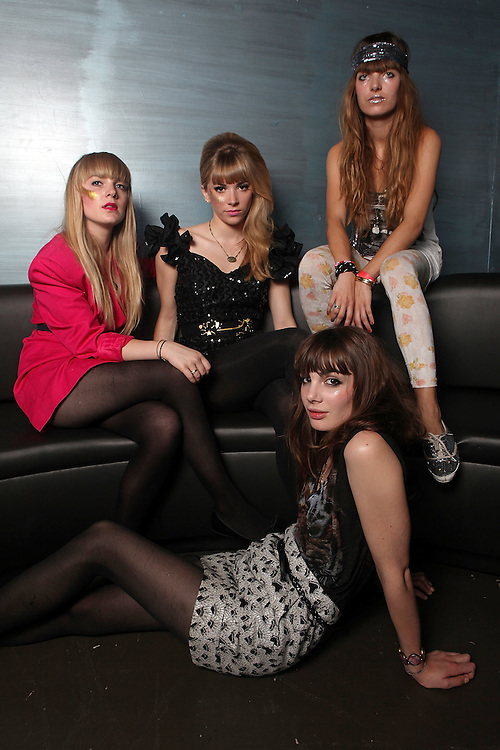 NEW YORK - JUNE 23:  (L to R) Anais, Katty Besnard, Louise Basilien and Marnie Neuilly of The Plasticines pose for a portrait before their performance at the Nylon Summer Music Tour at Highline Ballroom on June 23, 2009 in New York City.  (Photo by Roger Kisby/Getty Images)