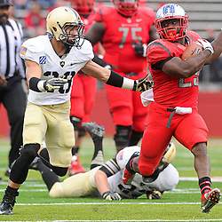 10 November 2012: Rutgers Scarlet Knights running back Jawan Jamison (23) rushes past Army Black Knights defensive back Justin Allen (28) during NCAA college football action between the Rutgers Scarlet Knights and Army Black Knights at High Point Solutions Stadium in Piscataway, N.J..