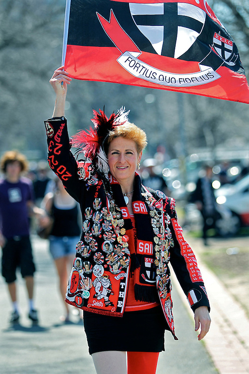 AFL Grand Final Replay, MCG,  St Kilda Fan Michelle Mauerhofer before the game  - Pic By Craig Sillitoe 02/09/2010 melbourne photographers, commercial photographers, industrial photographers, corporate photographer, architectural photographers, This photograph can be used for non commercial uses with attribution. Credit: Craig Sillitoe Photography / http://www.csillitoe.com<br />