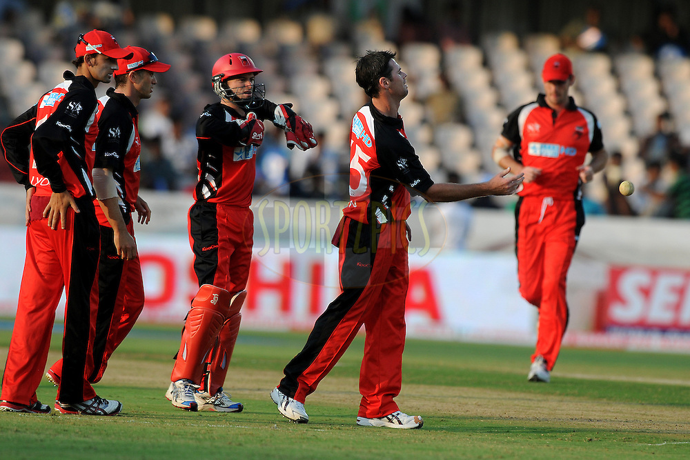 Daniel Harris of Team South Australia celebrate a wicket during Match 4 of the NOKIA CLT20 between The Warriors and the South Australian Redbacks held at the Rajiv Gandhi International Stadium, Hyderabad on the 25th September 2011..Photo by Pal Pillai/BCCI/SPORTZPICS