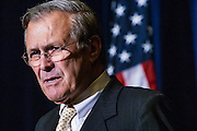 04 AUGUST 2004 - PHOENIX, AZ:  Secretary of Defense DONALD RUMSFELD speaks at the Arizona Biltmore in Phoenix, AZ on Aug. 4, 2004. Rumsfeld served as President George W. Bush's Secretary of Defense from 2000 until his resignation in 2006. Rumsfeld was the architect of the wars in Iraq and Afghanistan.    PHOTO BY JACK KURTZ