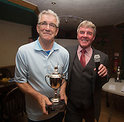 Eddie Ogg (president of the Belhaven Broughty Ferry Domino League) presents the Spring Consolation Cup to Doug Robson of Papa Jacques -  Belhaven Broughty Ferry Domino League prizegiving at the Crown, Monifieth<br /> <br />  - &copy; David Young - www.davidyoungphoto.co.uk - email: davidyoungphoto@gmail.com