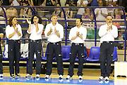 Taranto 05-06-2011<br /> Qualifying Tournament Eurobasket Women 2011<br /> Italia-Germania<br /> Nella foto Mara Fullin Sandra Palombarini Massimo Galli Loris Barbiero<br /> Foto di Ciamillo-Castoria