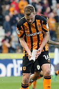 Hull City midfielder Sebastian Larsson (16) with a drinks bottle during the EFL Sky Bet Championship match between Hull City and Sheffield Wednesday at the KCOM Stadium, Kingston upon Hull, England on 14 April 2018. Picture by Mick Atkins.