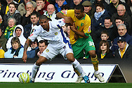 Norwich - Saturday March 27th, 2010:  Korey Smith of Norwich and Jermaine Beckford of Leeds in action during the Coca Cola League One match at Carrow Road, Norwich. (Pic by Paul Chesterton/Focus Images)