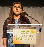 Milby High School student Tabitha Cerda comments during the State of the Schools luncheon at the Hilton of the Americas, February 15, 2017.