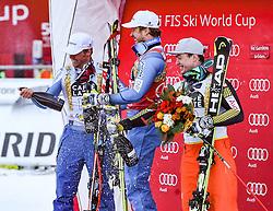 16.12.2016, Saslong, St. Christina, ITA, FIS Ski Weltcup, Groeden, Super G, Herren, Flower Zeremonie im Bild v.l. Aleksander Aamodt Kilde (NOR, 2. Platz), Kjetil Jansrud (NOR, 1. Platz), Erik Guay (CAN, 3. Platz) // f,l, second placed Aleksander Aamodt Kilde of Norway, race winner Kjetil Jansrud of Norway, third placed Erik Guay of Canada during the Flowers ceremony for the men's SuperG of FIS Ski Alpine World Cup at the Saslong race course in St. Christina, Italy on 2016/12/16. EXPA Pictures © 2016, PhotoCredit: EXPA/ Erich Spiess