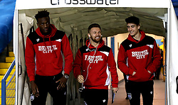 Tammy Abraham, Matty Taylor and Callum O'Dowda of Bristol City arrive at Elland Road for the Sky Bet Championship fixture against Leeds United - Mandatory by-line: Robbie Stephenson/JMP - 14/02/2017 - FOOTBALL - Elland Road - Leeds, England - Leeds United v Bristol City - Sky Bet Championship