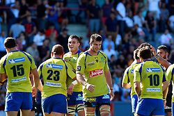 Jubilant Clermont players celebrate at the end of the game.  Stade Toulousain v ASM Clermont Auvergne, Stade Ernest Wallon, Samedi 13 September 2014. Top 14 5eme Journee.