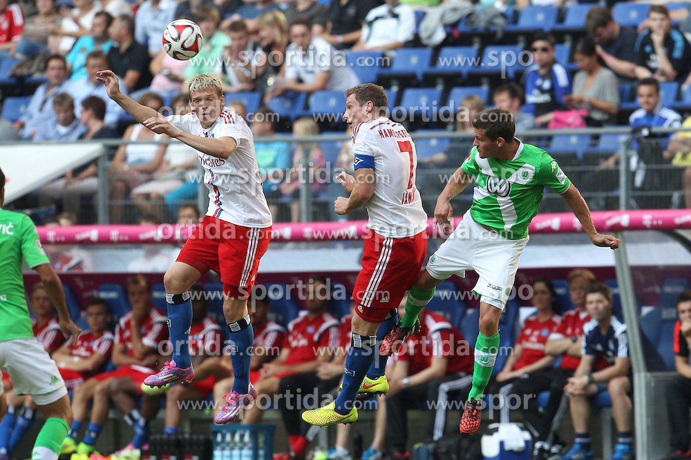 26.07.2014, Imtech Arena, Hamburg, GER, FS Vorbereitung, Hamburger SV vs VfL Wolfsburg, Telekom Cup, im Bild Artjoms Rudnevs (Angriff / HSV / n16), Marcell Jansen (Abwehr / HSV / n7), Sebastian Jung (Abwehr / Wolfsburg / n24), Foto: Eibner // during the Telekom Cup Match between Hamburger SV and VfL Wolfsburg at the Imtech Arena in Hamburg, Germany on 2014/07/26. EXPA Pictures &copy; 2014, PhotoCredit: EXPA/ Eibner-Pressefoto/ DAP<br /> <br /> *****ATTENTION - OUT of GER*****