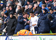 Preston North End Striker Callum Robinson (37) prepares to come on during the Sky Bet Championship match between Preston North End and Brighton and Hove Albion at Deepdale, Preston, England on 5 March 2016.