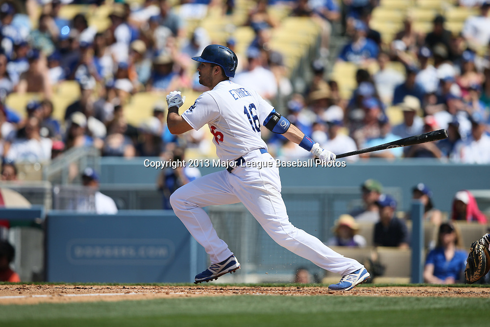 LOS ANGELES, CA - APRIL 28:  Andre Ethier #16 of the Los Angeles Dodgers runs to first base during the game against the Milwaukee Brewers on Sunday, April 28, 2013 at Dodger Stadium in Los Angeles, California. The Dodgers won the game 2-0. (Photo by Paul Spinelli/MLB Photos via Getty Images) *** Local Caption *** Andre Ethier