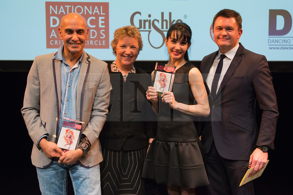 © Licensed to London News Pictures. 26/01/2015. London, England. Farooq Chaudhry for the Akram Khan Company (for the production of Dust for the ENB) with Tamara Rojo and members of the English National Ballet winners of the Stef Stefanou Award for Outstanding Company. The Critic's Circle National Dance Awards 2014 take place at The Place in London, UK. Photo credit: Bettina Strenske/LNP