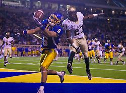 October 10, 2009; San Jose, CA, USA;  San Jose State Spartans wide receiver Kevin Jurovich (6) is unable to pull in a pass after beating Idaho Vandals safety Isaac Butts (27) in the end zone during the third quarter at Spartan Stadium.  Idaho won 29-25.