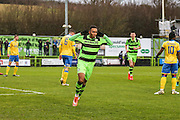 Forest Green Rovers Keanu Marsh-Brown(7) and celebrates, 1-0 during the Vanarama National League match between Forest Green Rovers and Torquay United at the New Lawn, Forest Green, United Kingdom on 1 January 2017. Photo by Shane Healey.