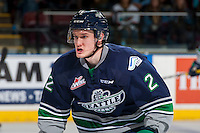 KELOWNA, CANADA - FEBRUARY 13: Austin Strand #2 of the Seattle Thunderbirds skates against the Kelowna Rockets on February 13, 2017 at Prospera Place in Kelowna, British Columbia, Canada.  (Photo by Marissa Baecker/Shoot the Breeze)  *** Local Caption ***