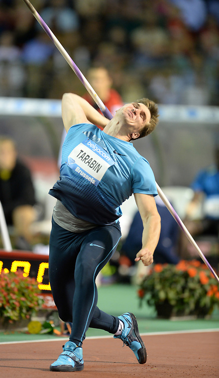 Sep 6, 2013; Brussels, BELGIUM; Dmitriy Tarabin (RUS) places fourth in the javelin at 272-5 (83.03m) in the 2013 Belgacom Memorial Van Damme at King Baudouin Stadium. Photo by Jiro Mochizuki