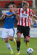 Liam Bellamy and Harry Pell during the Vanarama National League match between Cheltenham Town and Dover Athletic at Whaddon Road, Cheltenham, England on 12 September 2015. Photo by Antony Thompson.