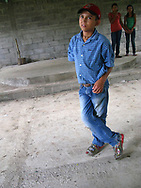 Boy inside a church under construction near Matagalpa Nicaragua 2010.