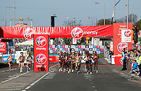 Women's elite race start<br /> The Virgin Money London Marathon 2014<br /> 13 April 2014<br /> Photo: Jed Leicester/Virgin Money London Marathon<br /> media@london-marathon.co.uk