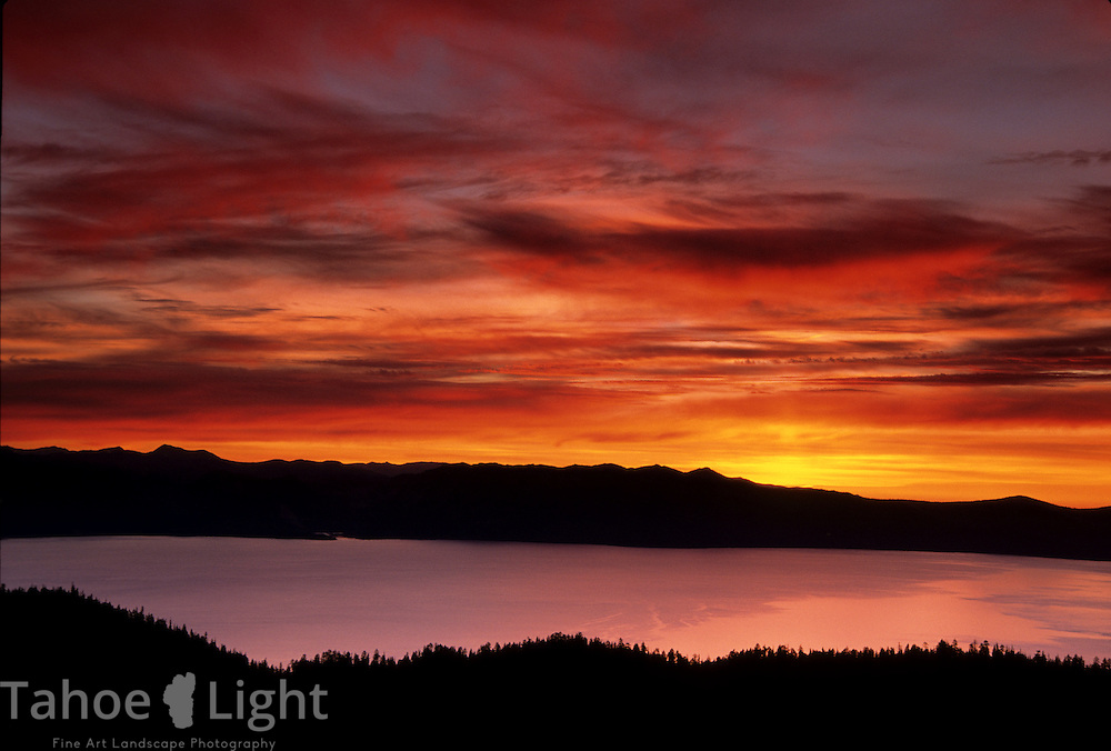 Sunset over lake tahoe, CA as seen from the  north shore