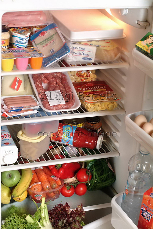 Turin, Piedmont/Italy -10/22/2004- A fridge full of food and drink products.