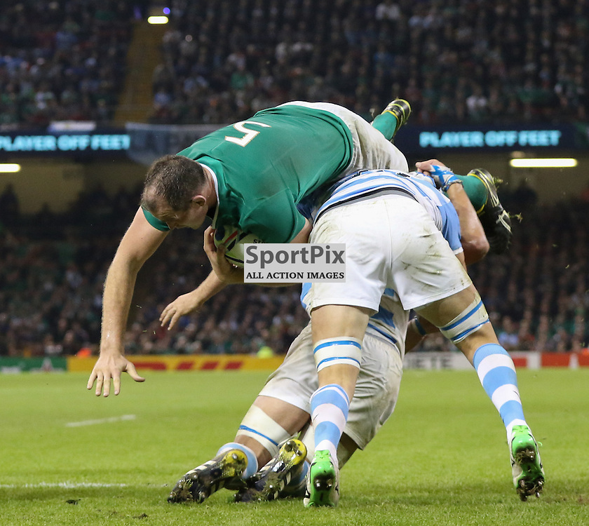 Devin Toner is tackled during the Rugby World Cup Quarter Final, Ireland v Argentina, Sunday 18 October 2015, Millenium Stadium, Cardiff (Photo by Mike Poole - Photopoole)