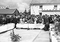 IND95253<br /> <br /> American President John Fitzgerald Kennedy (J.F.K)'s visit to Ireland, June 1963.<br /> Reception in Wexford.<br /> During his three-day visit to Ireland, US President John F Kennedy meets with his Irish cousins in the barnyard of their mutual forefather's homestead, at Dunganstown, June 27, 1963. <br /> Among those present were: Margaret Kirwan; Eunice Shriver and Jean Smith, the President's sisters; Josephine Ryan; Mary Ryan; JFK; Mary Anne Ryan; Margaret Whitty; and Joan Kirwan.<br /> (Part of the Independent Newspapers ireland/NLI collection.)