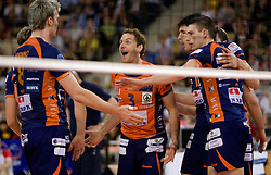 Venno Oliver, Daniel Lewis, Vid Jakopin and Alen Pajenk of ACH celebrate at 2nd Semifinal match of CEV Indesit Champions League FINAL FOUR tournament between ACH Volley, Bled, SLO and Trentino BetClic Volley, ITA, on May 1, 2010, at Arena Atlas, Lodz, Poland. Trentino defeated ACH 3-1. (Photo by Vid Ponikvar / Sportida)