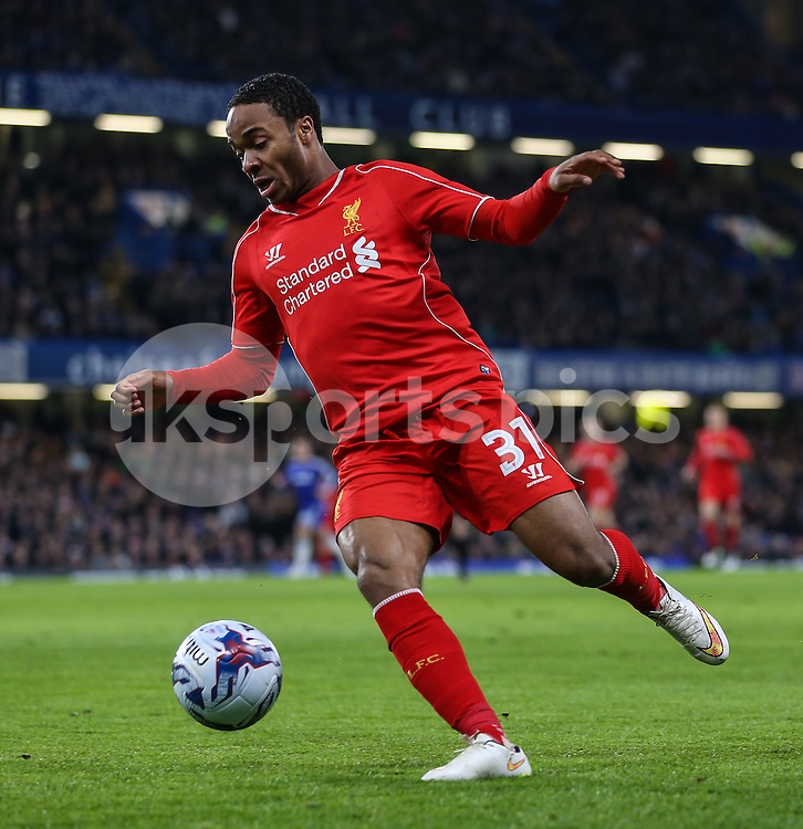 Raheem Sterling of Liverpool during the Capital One Cup Semi Final 2nd Leg match between Chelsea and Liverpool at Stamford Bridge, London, England on 27 January 2015. Photo by David Horn.