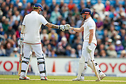 England & Nottinghamshire Batsman Alex Hales and England & Yorkshire wicket keeper Jonny Bairstow  celebrate England 200 during day 2 of the first Investec Test Series 2016 match between England and Sri Lanka at Headingley Stadium, Headingley, United Kingdom on 20 May 2016. Photo by Simon Davies.